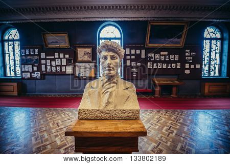Gori Georgia - April 23 2015. Small bust of young Stalin in Museum of Joseph Stalin in his hometown - Gori