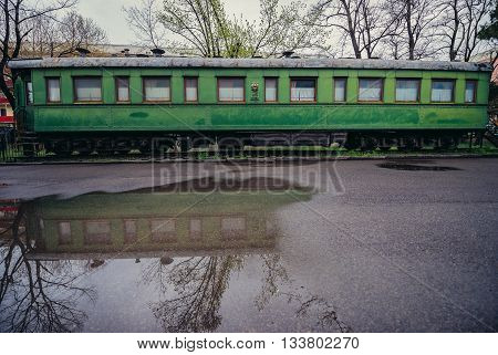 Gori Georgia - April 23 2015. Stalin's railway carriage in front of Joseph Stalin Museum
