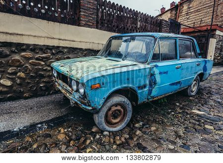 Sighnaghi Georgia - April 24 2015. Lada 1600 car in Sighnaghi small town in Kakheti district