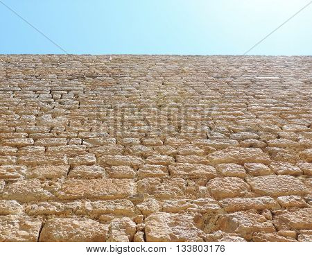 historic town wall of Ibiza town, low angle view