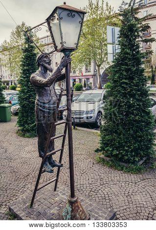 Tbilisi Georgia - April 24 2015. Statue of lamplighter in Tbilisi