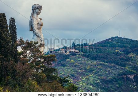 Tbilisi Georgia - April 24 2015. Mother of the Georgians statue on Sololaki hill