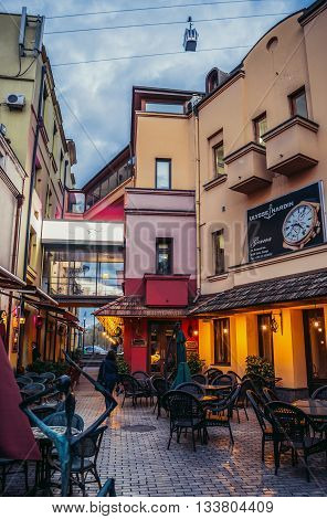 Tbilisi Georgia - April 24 2015. Bars and restaurants at Shardeni Street in Tbilisi