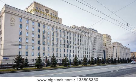 MOSCOW, RUSSIA - APRIL 4, 2015: The Ministry of Defense building in downtown Moscow, Russia. Built in totalitarian style during Stalin era