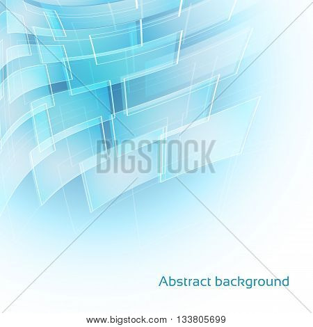 abstract light blue background with transparent shapes and lines. vector illustration