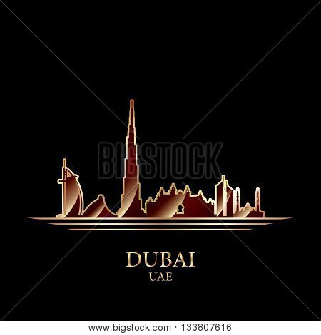 Gold Silhouette Of Dubai On Black Background