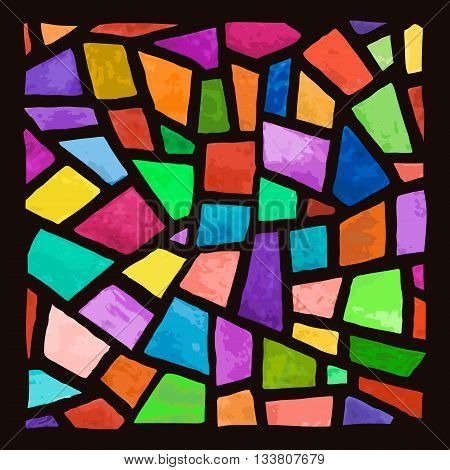Stained glass window background. Watercolor handmade. Vector Illustration.