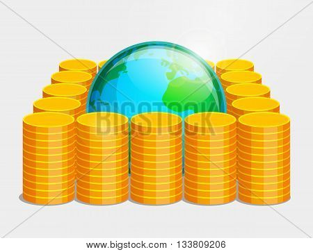 Terrestrial globe is lying inside piles of gold coins. Money as basis of stability and safety in the world