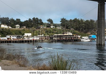 Fort Bragg,California,USA - July 19, 2014 : View of the Noyo River and the stilts along the riverside