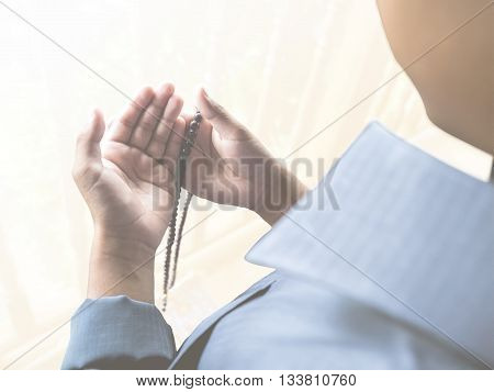 muslim child praying for Allah muslim God soft light added