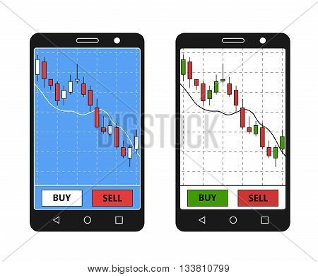 Smatrphone with forex chart. Forex application on phone. Digital device with forex diagram. Vector illustration.
