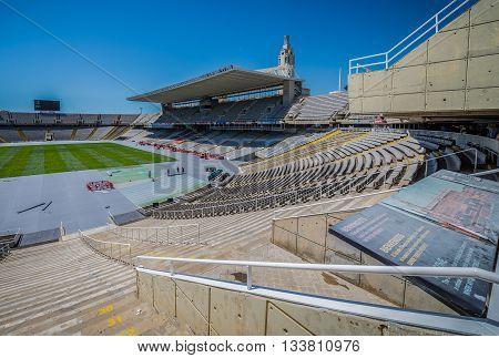 Barcelona Spain - May 22 2015. View on Estadi Olimpic stadium in Barcelona