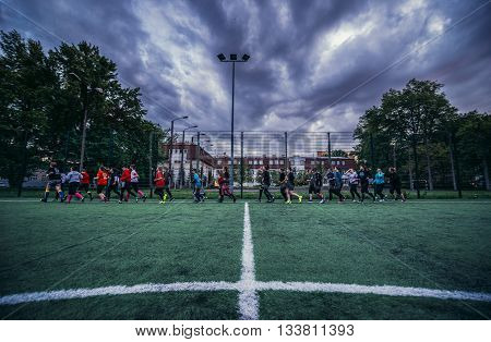 Warsaw Poland - May 15 2015. Training session of Warsaw Sirens - first polish female american football team