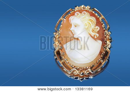 Antique Cameo On Blue