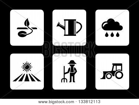 set agriculture six icons on black background