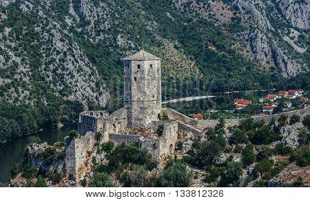 Pocitelj Bosnia and Herzegovina - August 26 2015. 14th century fortress in Pocitelj village