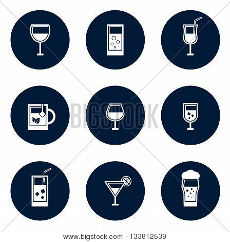 set of blue isolated round glasses icons