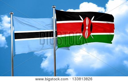Botswana flag with Kenya flag, 3D rendering