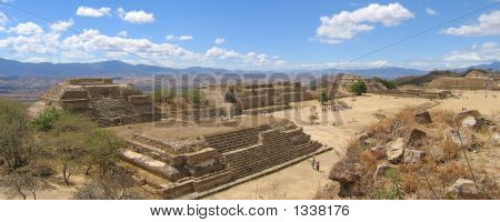 Pyramids Of Monte Alban Old Mountain City  Mexico  Panorama