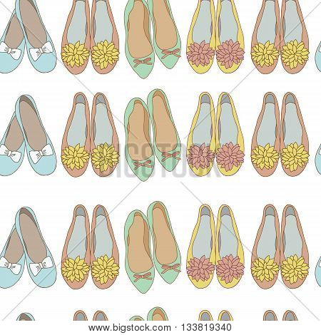 Women shoes seamless pattern on a white background.