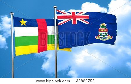 Central african republic flag with Cayman islands flag, 3D rende