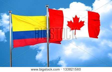 Colombia flag with Canada flag, 3D rendering