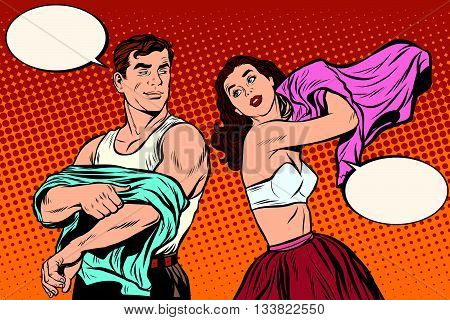 Morning man and woman dress up. Underwear pop art retro vector. Husband and wife get out of bed. Lovers and sex