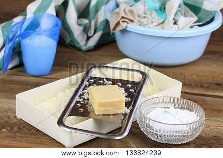 Homemade laundry detergent made from soap crystalline sodium and water. Alternative detergent laundry. Laundry detergent environment friendly.