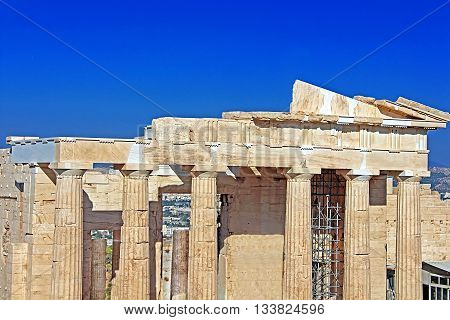 Propylaea is the monumental gateway to the Acropolis, the Propylaea was built under the general direction of the Athenian leader Pericles, Athens, Greece