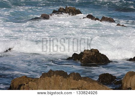 This is an image of volcanic rocks taken at Point Lobos State Preserve just south of Carmel By The Sea, Calif. U.S.A