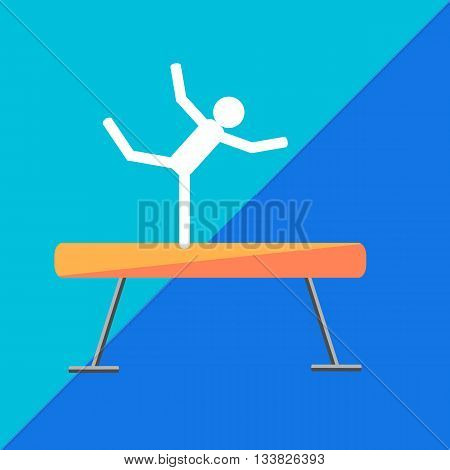 Gymnastic balance beam on two-tone background. Picture style flat