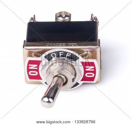 switch of electrical protection component isolated on white background it breaks circuit when toggle to off position.