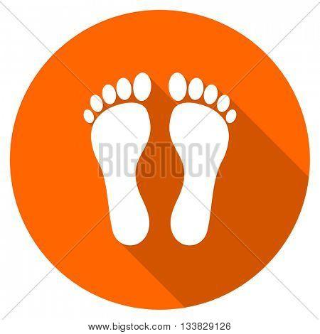 foot vector icon, orange circle flat design internet button, web and mobile app illustration