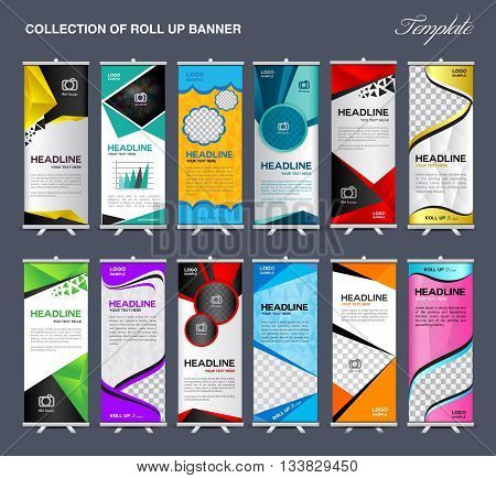 Collection of Roll Up Banner Design stand template flyers banners labels roll-up and card template