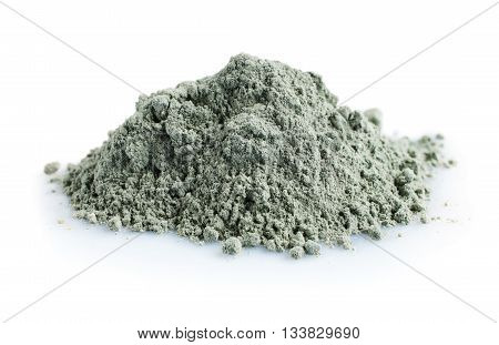 Pile of blue cosmetic clay isolated on white background