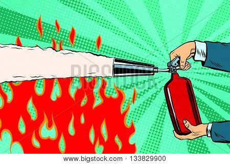 Extinguish the flames with a fire extinguisher pop art retro vector. Red fire