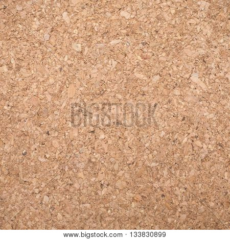 Sandy brown eco friendly cork texture quadrate shape front view closeup