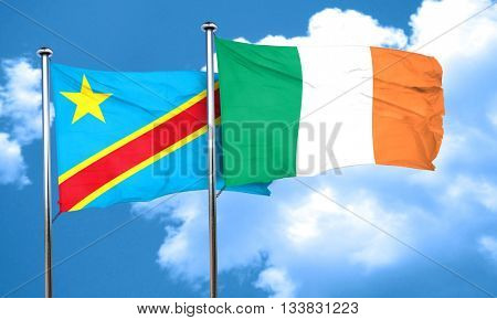 Democratic republic of the congo flag with Ireland flag, 3D rend