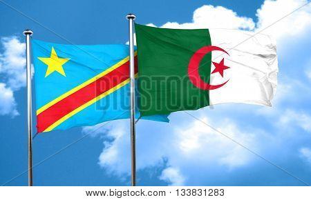 Democratic republic of the congo flag with Algeria flag, 3D rend