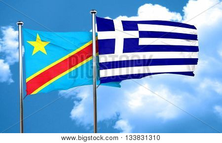 Democratic republic of the congo flag with Greece flag, 3D rende