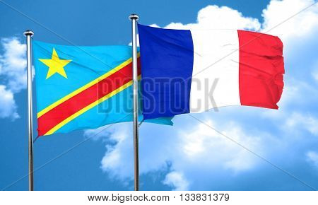 Democratic republic of the congo flag with France flag, 3D rende