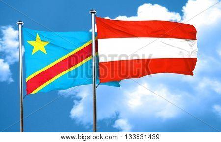 Democratic republic of the congo flag with Austria flag, 3D rend