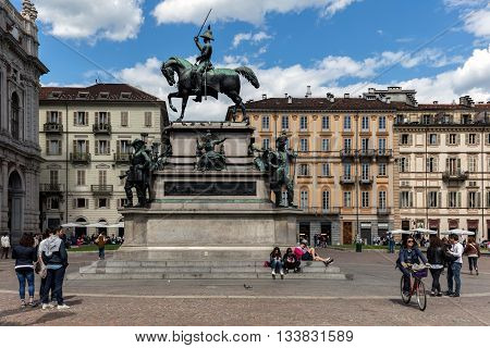 TURIN ITALY - APRIL 24 2016: Equestrian monument to the king Charles Albert of Sardinia in Piazza Carlo Alberto in Turin was sculpted by Carlo Marochetti in 1861.