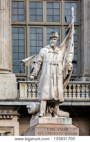 Monument to the Sardinian Army in front of a Palazzo Madama in Turin Italy was sculpted in white marble by Vincenzo Vela of 1857 and opened in April 1859.
