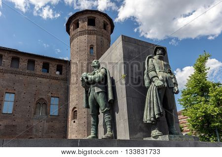 TURIN ITALY - APRIL 23 2016: Monument to Emanuele Filiberto Duca d'Aosta commander of the 3rd Army in WWII was designed by Eugenio Baroni and inaugurated in 1937 on Piazza Castello.