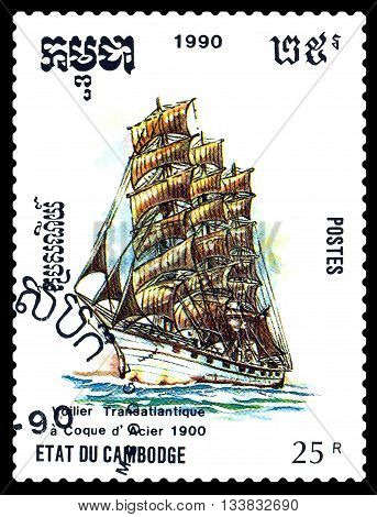 STAVROPOL RUSSIA - MAY 29 2016: a stamp printed by Cambodia shows old Dutch ship 1900 circa 1990 .
