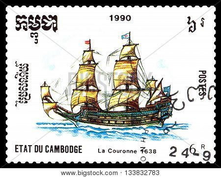 STAVROPOL RUSSIA - MAY 29 2016: a stamp printed by Cambodia shows old ship La Couronne 1638 circa 1990 .