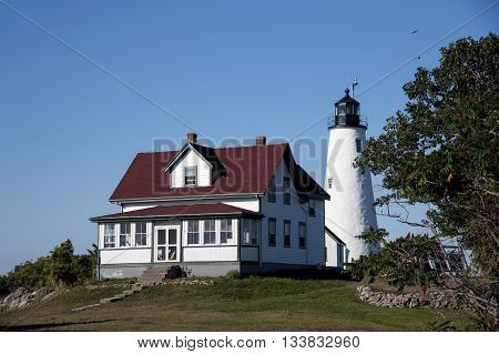 Barker's Island lighthouse and keeper's house in Salem Massachusetts.