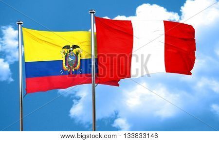 Ecuador flag with Peru flag, 3D rendering
