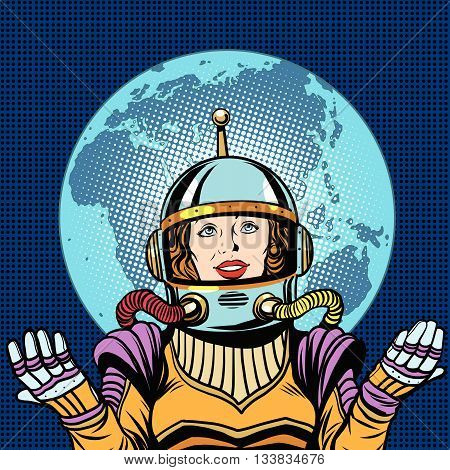 Woman astronaut a symbol of life on planet Earth pop art retro vector. Humanity and the cosmos. Earth day and ecology